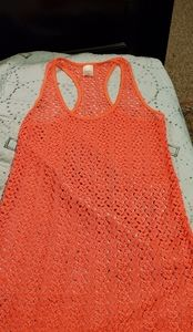 Xhiliration Crocheted Coral Beach Coverup